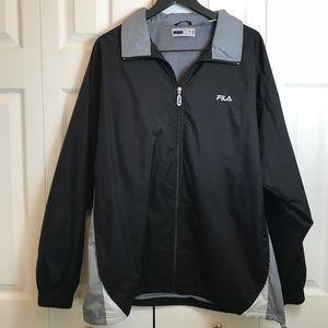 FILA Black Gray Bomber Windbreaker Jacket Coat L
